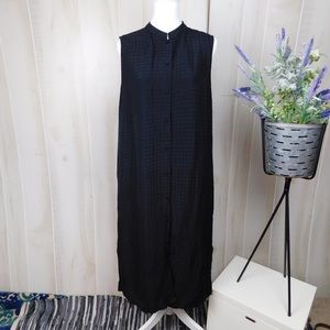 Eileen Fisher Black Silk & Linen Button Dress